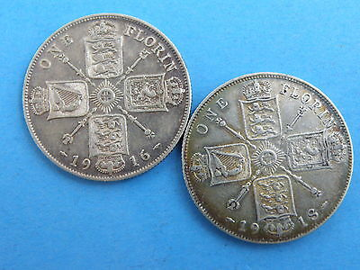 1916 & 1918  King George V SILVER FLORIN TWO SHILLING COINS