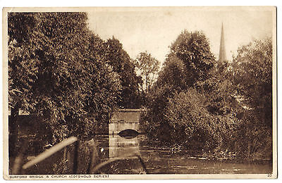 Burford CHURCH Cotswold SERIES HILLS RIVER Windrush Oxfordshire OLD POSTCARD