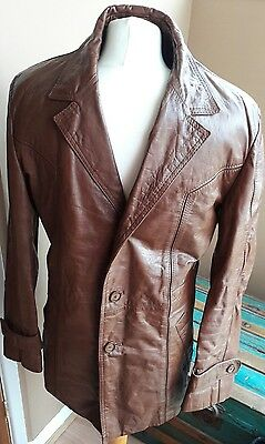 "mens vintage Tan leather jacket 60's 70's medium 44"" chest"