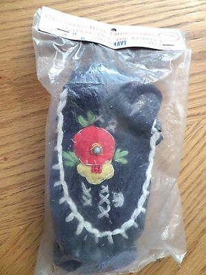 Vintage child's  Moccasin slipper socks;  1960's or 70's leather sole japan