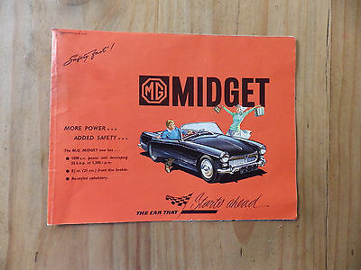 Mg Midget Car Brochure 1961-62.