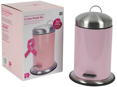 Pink Pedal Bin for Bathroom Bedroom 3 Litre Stainless Steel Rubbish Bin small