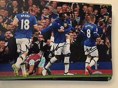 Barkley Mirallas Barry And Lukaku Everton Fc Toffees Hand Signed 12X8 Photo
