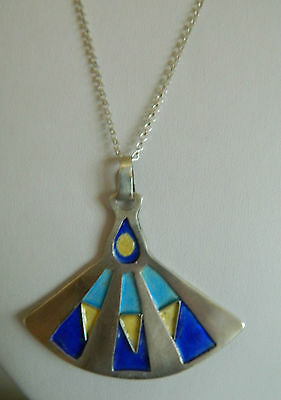 Vintage Art Deco sterling silver chain and enamel pendant