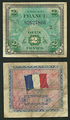 FRANCE - 2 Francs, 1944, Allied Forces - P #114b (Block #2)