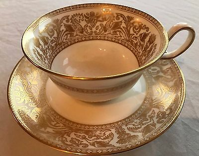 Wedgwood Gold Florentine Cup & Saucer Leigh Design Part of Service for Sale