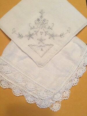 Vintage Lot of 2 (two) Women's Handkerchiefs:  Embroidered and Scalloped Lace
