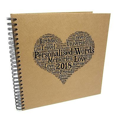 Personalised A3/A4/A5/Square Word Heart Scrapbook, Photo Album, Typography Cloud