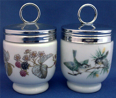 2 Small Royal Worcester Egg Coddlers. One With Birds And The Other Blackberries