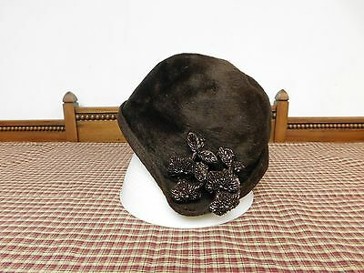 Vintage Womans Christian Dior Chapeaux Brown Camel Hair  Gatsby Style Hat