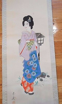 Japan Japanese Polychrome Painted scroll of a Woman Geisha ca. 20th c.