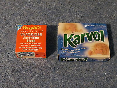Wright's Electrical Vaporizer Absorbent Block With Box With Karvol Capsules