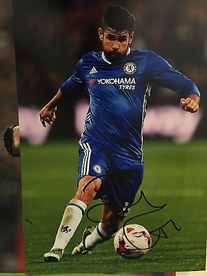Diego Costa Chelsea Fc Blues Hand Signed 12X8 Photo
