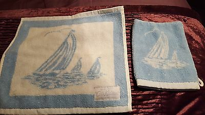 NEW CATH KIDSTON BLUE SAILBOAT FLANNEL & SOAP MITTEN baby shower (PRESENT GIFT)