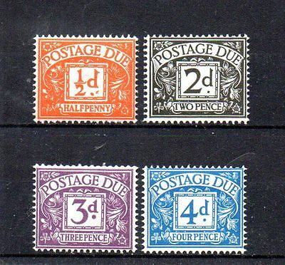 4 mint GB postage due stamps