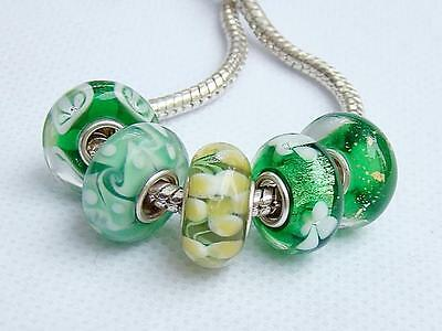 5 925 Sterling Silver GREEN Murano Glass Lampwork Beads Fit European bracelets