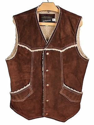 Vintage JCPENNEY Brown Suede Sherpa Lined Western Ranch Vest Sz. ML / MT