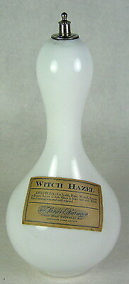 Antique Witch Hazel Milk Glass Barber Bottle Sanford Pharmacy Boonville NY