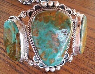 Big & Bold Mohave Green Turquoise & Sterling Silver Cuff Bracelet!