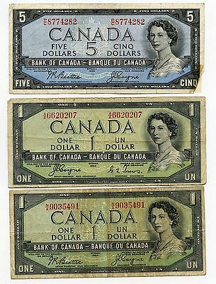 1954 Bank of Canada - $5 & $1 Dollar - Lot of 3 Currency Notes AJ738