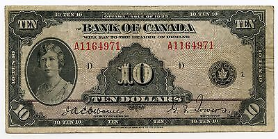 1935 Bank of Canada - Ten Dollars $10 Currency Note - AJ739