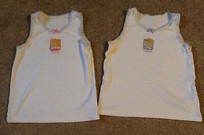 2 Girls Disney Priness Mothercare White Vests Age 3-4