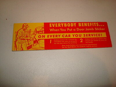 Shell Oil door jamb stickers for lubrication reminder vintage