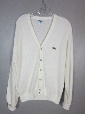 Vintage 90s 80s Izod Lacoste White Cardigan Sweater Mens size Small