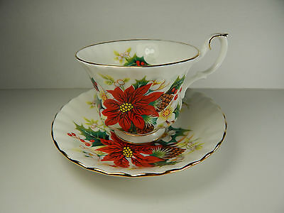 Royal Albert Poinsettia Tea Cup and Saucer Christmas Pattern
