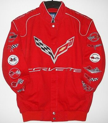 Size XL  Authentic Corvette Racing Embroidered Cotton Jacket red  JH Design XL
