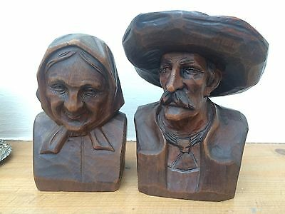 Pair of Black Forest Busts - Old Man and Wife