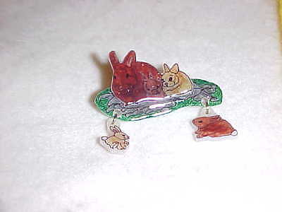 2 Part BUNNIES PIN - Handmade Unique Jewelry - New - RABBITS
