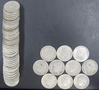 50 Roosevelt Dimes $5 Face Mixed Dates 90% Silver Circulated #119