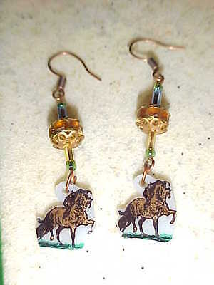 ANDALUSIAN HORSE Pierced Earrings - Handmade Unique Jewelry - Spain -