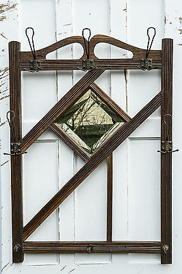 19Th Century French Arts And Crafts Coat Hook Wall Mirror.