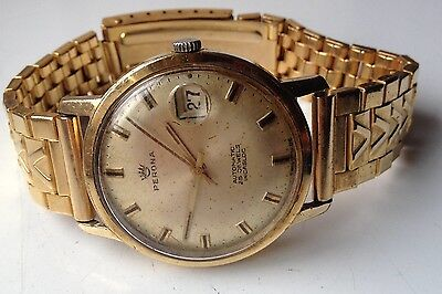 Mens Vintage Perona Automatic 25 Jewels Gold Plated Swiss Made Calendar Watch