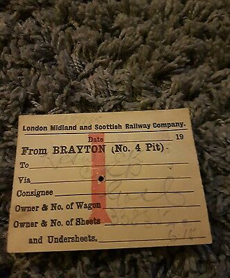 Old train wagon label lms from Brayton no4 pit 1924