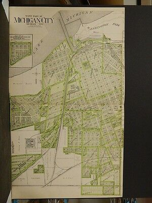 Indiana La Porte County Map 1921 Michigan City Two Double Page Double Side Z6#22