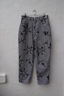 vintage trousers Versace 80s 90s jeans checked patterned black white 16 designer