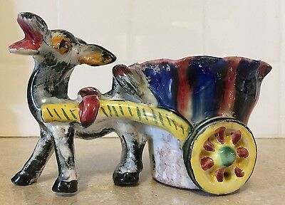 Vtg Italy HandPainted Pottery Laughing Donkey Mule Cart Ceramic Folk Art Planter