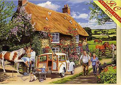 Morris Minor Traveller & Farrier--Greetings Print Card--Trevor Mitchell