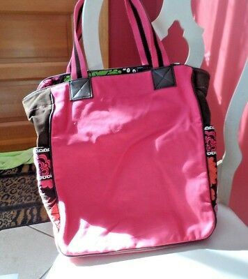 Vera Bradley Large color Block canvas Beach tote Pink with Lola