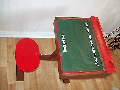 Vintage childrens wooden desk with chair
