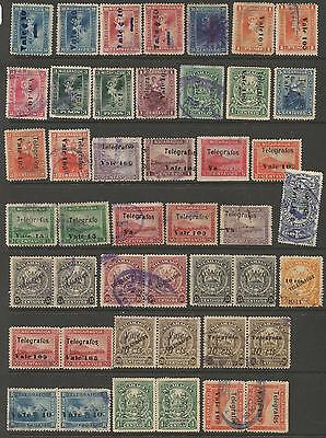 Nicaragua Telegraph Stamps 27 Singles And 9 Pairs Good Variety (1coo)