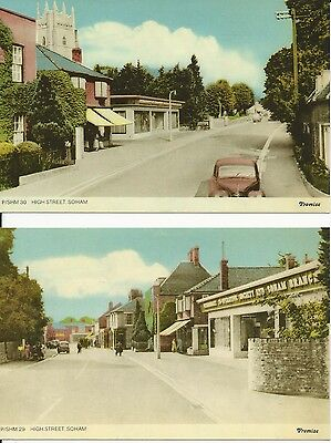 Two colour postcards of Soham High Street, Cambridgeshire 1950-60