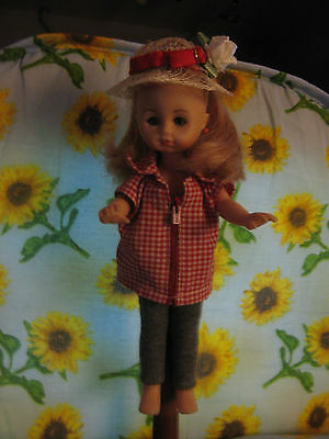 "Vintage  Tagged Vogue Red  Gingham  Shirt &  Handmade Hat  8""  For Ginny"