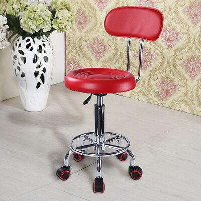Red Salon Chair Hairdressing SPA Beauty Massage Tattoo Adjustable backrest Stool