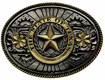 Gold Plated The State of Texas Belt Buckle In Presentation Box + Display Stand.