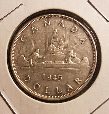 1945 Canada Silver Dollar - Repunched 5