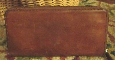 Rare Vintage Coach distressed zip up wallet brown leather